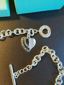 18 Inch 925 Sterling Silver double Heart Tag Necklace new
