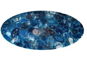 Blue Agate Lazy Susan Side Raturent Table Top Stone Home & Patio Decor Gifts Her