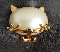 Vintage Gold Tone Faux Pearl Cat head face Brooch Pin