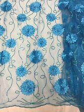 """TURQUOISE MESH W/FLORAL EMBROIDARY  SEQUINS LACE FABRIC  50"""" WIDE 1 YARD"""