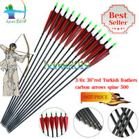 """3/6x Hunting Archery 30""""Red Turkish Feathers Carbon Arrows Spine 500 Hunting Bow"""