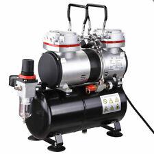 Twin Cylinder Piston Airbrush Compressor w/Tank 1/3 Hp Hobby T-Shirt Tattoo