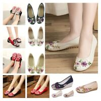 Women Casual Ballet Sandals Chinese Embroidered Flower Shoes Mary Jane Pump