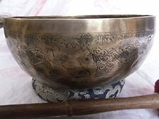 "9""Fine Etching Hand made singing bowl with cushions and Mallet,Real handmade"