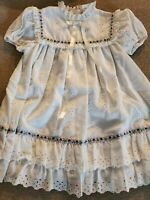Vintage Girls Sz 4 Beautique White Dress 80s Eyelet Ruffle Purple Easter Prarie