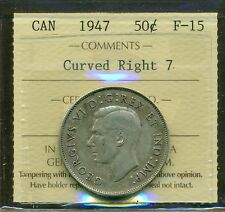 "Canada 1947 Silver Half Dollar ""Curved Right 7"" ICCS Certified F-15"
