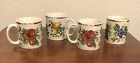 4 Oneida Sakura Sonoma Excell Coffee Cups Mugs Mixed Fruits Stoneware 12 Oz