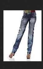 DESIGUAL straight fit MENCIA 80's acid wash retro look jeans HAPPY pockets US 30