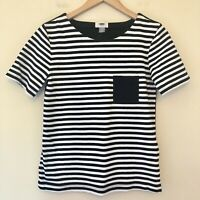 Old Navy Womens Size XS Short Sleeve Crew Neck Top Black White Striped NEW 552