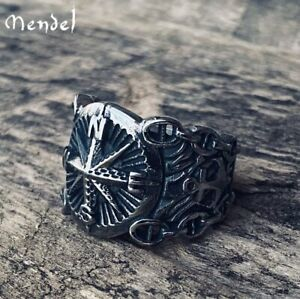 MENDEL Mens Nautical Biker North Star Anchor Ring 316L Stainless Steel Size 7-15