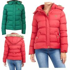 Womens Brave Soul Contrast Faux Fur Trim Hooded Puffer Hop Quilted Winter Coat