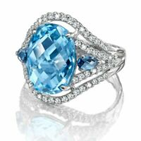 Gorgeous 925 Silver Wedding Rings for Women Oval Cut Aquamarine Ring Size 6-10