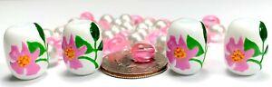 Flower Beads Jewelry Making North Dakota State Flower Wild Prairie Rose 40 pcs