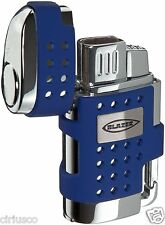 Blazer EVO Twin Torch Flame Butane Lighter with Retractable Cigar Punch – Blue