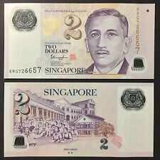 2017 SINGAPORE PORTRAIT POLYMER 2 DOLLARS W/2 HOLLOW STAR P-NEW UNC