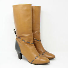 Vintage Italy 70s 80s Tan Brown Leather Calf Boots Shoes Size 40 7