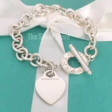 Tiffany & Co Sterling Silver Blank Heart Tag Toggle Charm Bracelet