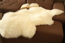 Genuine Sheepskin RUG Natural XXL LARGE 140cm Long Natural White fur P&P FREE