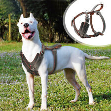 Genuine Leather Dog Harness Heavy Duty With Control Handle Adjustable Large Dogs