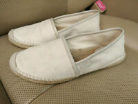 Gucci GG Signature Espadrille Canvas Shoes Womens White Slip-On Flats 466902