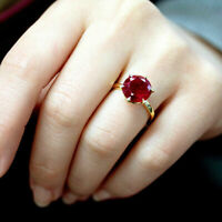 2Ct Round Cut Red Garnet Women's Solitaire Engagement Ring 14K Yellow Gold Over