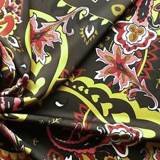 Floral Print Light Matt Satin Dress Fabric - Dark Khaki, Ochre, Black, Red, Pink