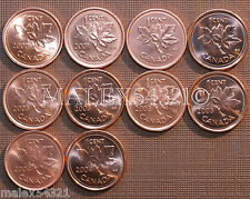 2000 TO 2004 BU CANADA 1 CENT MINT STATE (10 COINS) >>FREE $HIPPING IN CANADA!<<