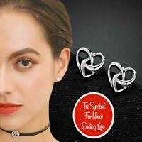 Interlacing Hollow Heart Knot 925 Sterling Silver Plated Statement Stud Earrings