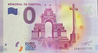 BILLET 0  EURO  MEMORIAL DE THIEPVAL FRANCE 2017 NUMERO 100