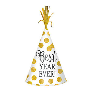 Best Year Ever White & Gold Glitter Dots New Year Party Cone Hats x 12