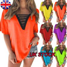 Womens Sexy Deep V Neck T Shirt Top Ladies Casual Short Sleeve Loose Tee Tops UK