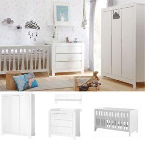Babyzimmer Kinderzimmer NICEA weiß Set B komplett 5-tlg Schrank 3T Bett Kommode