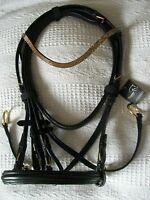 GOLD Bling!*New Cosmic Leather BITLESS CrossUnder Bridle*Leather Reins*All Size*