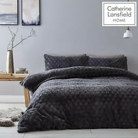 Catherine Lansfield Soft Touch Diamond Fur Fleece Duvet Cover Bedding Set Grey