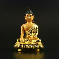 8.8CM Chinese Tibetan Buddhism Resin Gild Sit Lotus Sakyamuni Tathagata Buddha