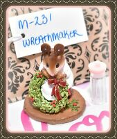 ❤️Wee Forest Folk M-231 Wreathmaker 1998 Christmas Mouse Figure White Dress❤️