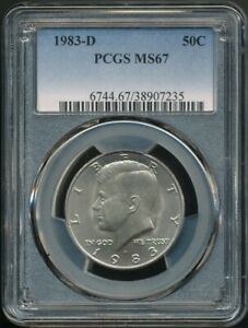 1983-D Kennedy Half Dollar PCGS MS 67 *Registry Set Candidate* Pop 40/20 (11/20)