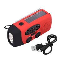 Solar Hand Crank Dynamo Emergency AM/FM/WB Radio Compass LED Flashlight Charging