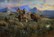 "Edgar Samuel Paxson, Buffalo Hunt, antique, 1905, Western Art, 24""x16"" print"
