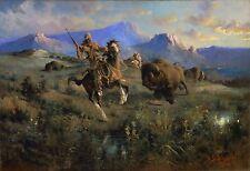 "Edgar Samuel Paxson, Buffalo Hunt, 1905, Western Art, 24""x16"" Canvas"