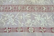 Beautiful Large Linen Fragment W Lace Insertions Hemstitching & Embroidery Rr910