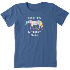 Life is Good Women's Crusher Tee Tie Dye Beautiful Colors Horse, Vintage Blue