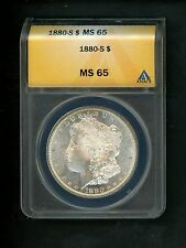 1880-S US Morgan Silver Dollar $1.00 $1 ANACS MS65 Choice UNC Nice Fields Frost