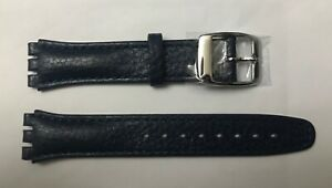 Replacement 17mm Leather Watch Strap in Ink Blue for Swatch Metal Buckle