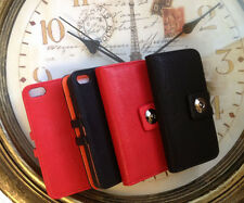 IPHONE 5 Phone Protection Case Leather Case With 3 Compartments Case Deluxe Red