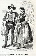 MERANO: Costumi. Burgraviato. Tirol.Südtirol. Tirolo.Bolzano. Stampa Antica.1876