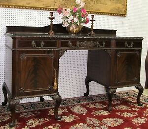 Antique American Chippendale Mahogany Buffet Sideboard Console Circa 1890