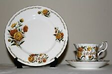 Golden Crown E&R Bone China Bouquet of the Month OCTOBER Cup Saucer Snack Plate