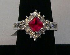 Park Lane Retired Hostess Fuchsia CZ Ring w/ Clear Mini CZ Accents   Size 10