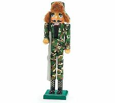 15 inch Wooden Hunting Nutcracker Hunter Green Camouflage Fur Hat & Wooden Rifle